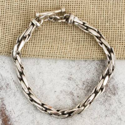 Sterling silver chain bracelet, 'Smooth' - Womens Chain Bracelet 925 Sterling Silver from Mexico