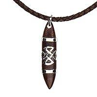 Leather and wood pendant necklace, 'Cruz de Malta' - Unisex Mexican Wood Pendant Necklace on Leather Cord