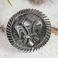 Sterling silver cocktail ring, 'Fleur-de-lis' - Handcrafted Fleur-de-lis Ring in Taxco 925 Sterling Silver