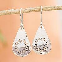 Sterling silver dangle earrings, 'Solar Teardrops' - Womens .925 Silver Dangle Earrings with Sun from Mexico