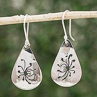Sterling silver dangle earrings, 'Sterling Orchid' - Womens Sterling Silver Dangle Orchid Earrings from Mexico
