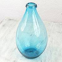 Blown glass bottle, 'Aquamarine Droplet' - Aquamarine Color Hand Blown Glass Artisan Bottle Art