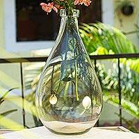 Recycled decorative glass vessel, 'Clearly Elegant' - Hand Blown Recycled Clear Glass Bottle from Mexico