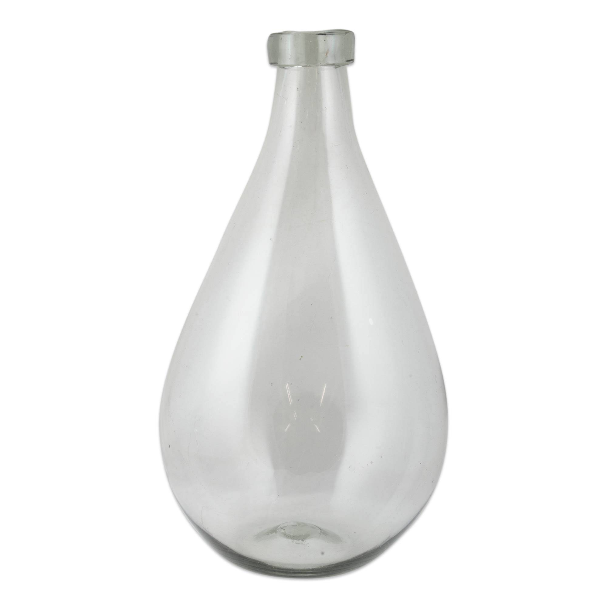 Hand Blown Recycled Clear Glass Bottle from