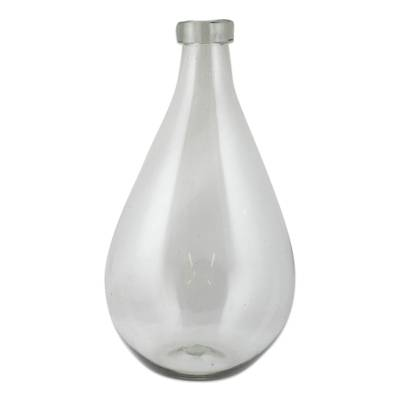 Hand Blown Recycled Clear Glass Bottle from Mexico