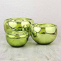 Blown glass bowls, 'Chrome Lime' (set of 3) - Set of 3 Modern Metallic Green Hand Blown Glass Bowls