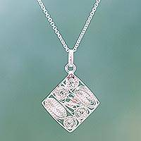 Sterling silver pendant necklace, 'Filigree Abstraction' - Mexican Jewelry Filigree Style Sterling Silver Necklace