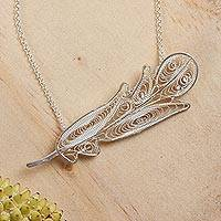 Sterling silver pendant necklace, 'Feather in Filigree' - Handcrafted Silver 925 Filigree Pendant Necklace from Mexico