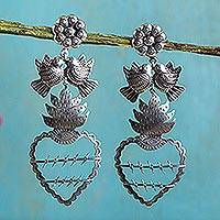 Sterling silver heart earrings, 'Freedom Hearts' - Mexican Hearts Artisan Crafted Sterling Silver Earrings