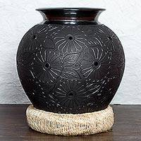Ceramic vase, 'Night Flowers' (19 in) - 19-inch Tall Handcrafted Floral Black Pottery Vase & Stand