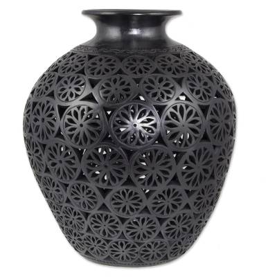 18 Inch Mexican Black Pottery Decorative Vase From Oaxaca Song Of