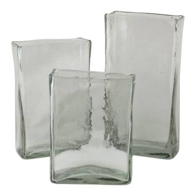 3 Glass Vases Hand Blown Clear Glass Set Hacienda Style Clear Ice