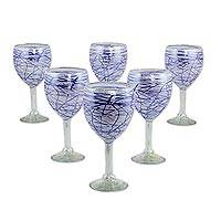 Blown glass wine glasses, 'Blue Swirling Web' (set of 6) - Mexican Hand Blown 11 oz Wine Glasses with Blue Swirls