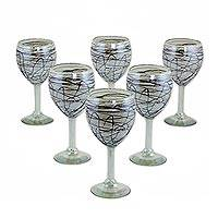 Blown glass wine glasses, 'Brown Swirling Web' (set of 6) - Mexican Hand Blown 11 oz Wine Glasses with Brown Swirls