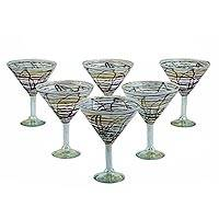Blown glass martini glasses, 'Brown Swirling Web' (set of 6) - Mexican Hand Blown Martini Glasses with Brown Swirls