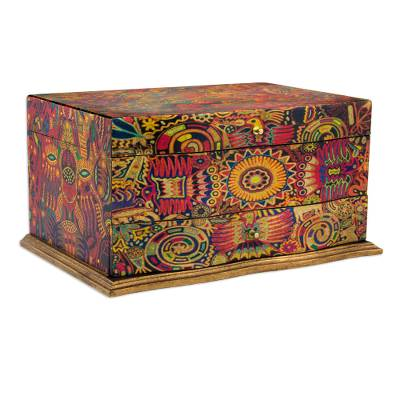 Decoupage jewelry box, Huichol Enchantment