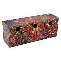 Decoupage jewelry box, 'Huichol Renaissance' - Huichol Theme Decoupage Decorative Box with 3 Drawers