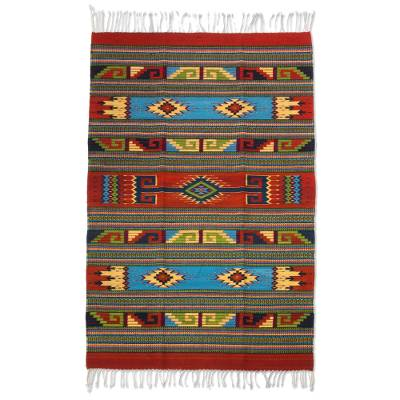Zapotec wool rug, 'Linear Sun' (4x6.5) - Red and Multicolor Authentic Handwoven Zapotec Wool Rug 4x6