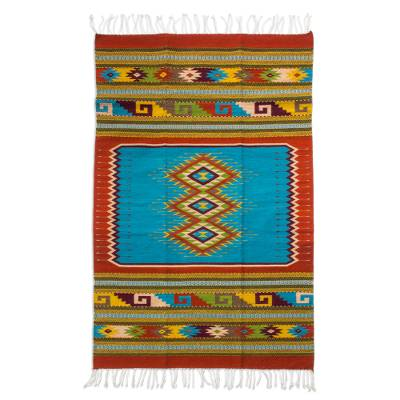 Zapotec wool rug, 'Zapotec Astronomy' (4x7) - Multicolor Geometric Motif 4 x 7 Zapotec Rug from Mexico