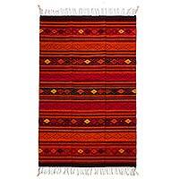 Zapotec wool rug, 'Fiery Embers' (4.5x6.5) - Handwoven Red 4.5 x 6.5-Foot Authentic Zapotec Rug