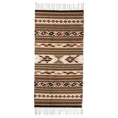 Zapotec wool rug, 'Eyes of the Earth' (2.5x5) - Handwoven Earthtone Zapotec Area Rug (2.5 x 5)