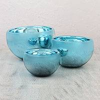 Blown glass bowls, 'Chrome Aquamarine' (set of 3) - Set of 3 Modern Metallic Blue Hand Blown Glass Bowls