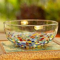 Blown glass serving bowl, 'Confetti Festival'