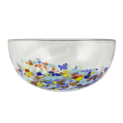 Blown glass serving bowl, 'Confetti Festival' - Colourful Hand Blown Glass Bowl for Serving or Salads