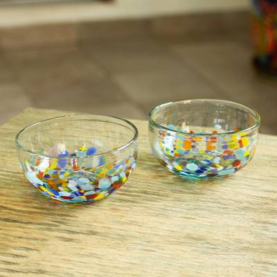 Blown glass bowls, 'Confetti Festival' (pair) - 2 Artisan Crafted Colorful Mexican Hand Blown Bowls Set
