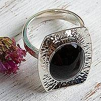 Black obsidian cocktail ring, 'Mysterious Abyss' - Womens Obsidian and 950 Silver Cocktail Ring from Mexico
