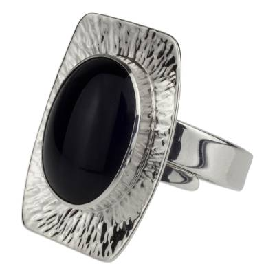 Womens Obsidian and 950 Silver Cocktail Ring from Mexico
