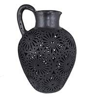 Ceramic decorative vase, 'Black Floral Fiesta' - Unique Floral Ceramic Black Pottery Vase from Mexico