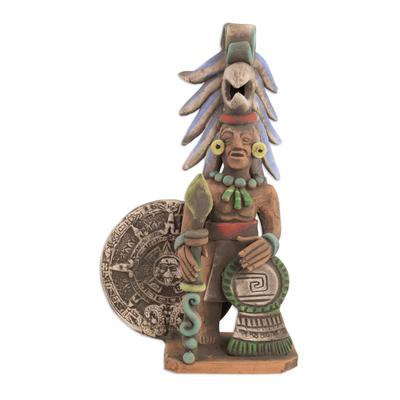 Ceramic sculpture, 'Aztec Calendar Eagle Warrior' - Ceramic Eagle Warrior Sculpture with Aztec Calendar