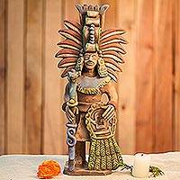 Ceramic sculpture, 'Priest of Quetzalcoatl' - Signed Artisan Crafted Aztec Ceramic Sculpture from Mexico