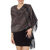 Cotton rebozo shawl, 'Night of Golden Stars' - Handwoven Black Cotton Rebozo Shawl with Golden Accents