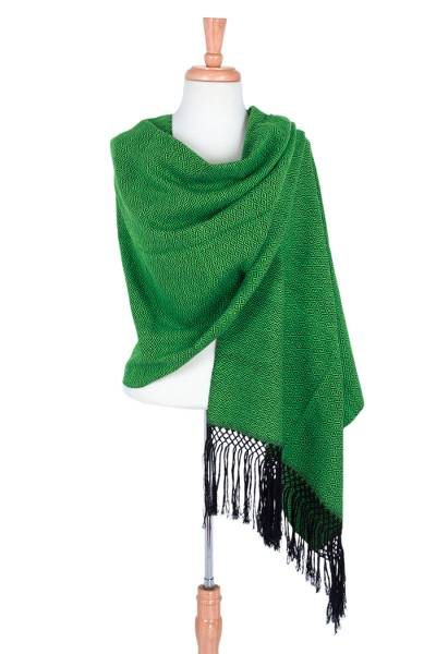 Cotton rebozo shawl, 'Emerald Diamond Night' - Handwoven Green Cotton Rebozo Shawl with Black Diamonds
