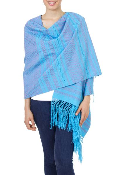 Cotton rebozo shawl, 'Sky Fiesta' - Handwoven Blue Cotton Zapotec Rebozo Shawl with Pink Motifs