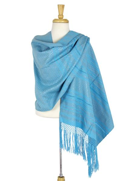 Cotton rebozo shawl, 'Golden Sunbeams' - Sky Blue and Gold Handwoven Mexican Rebozo