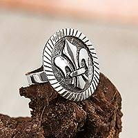 Men's sterling silver ring, 'Majestic Fleur-de-Lis' - Sterling Silver 925 Men's Fleur-de-Lis Ring from Mexico