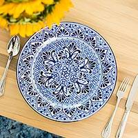 Ceramic dinner plate, 'Cholula Blossoms' - Handcrafted Authentic Mexican Blue Talavera Style Plate