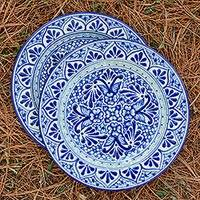 Ceramic luncheon plates, 'Cholula Blossoms' (pair) - Two Authentic Mexican Blue Talavera Style Luncheon Plates