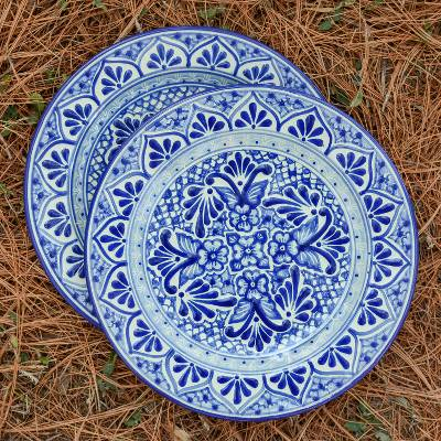 Two Authentic Mexican Blue Talavera Style Luncheon Plates, 'Cholula  Blossoms'
