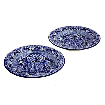 Ceramic soup bowls, 'Cholula Blossoms' (pair) - Set of 2 Authentic Mexican Talavera Style Soup Bowls
