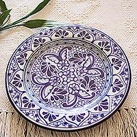 Ceramic dessert plates, 'Cholula Blossoms' (pair) - Mexican Blue Talavera Style Ceramic Dessert Plates (Pair)