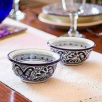 Talavera ceramic bowls, 'Cholula Blossoms' (pair) - Authentic Mexican Talavera 6 oz Ceramic Bowls (Pair)