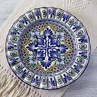 Talavera ceramic platter, 'Floral Duchess' - Glazed Talavera Ceramic Serving Platter Handmade in Mexico