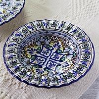 Ceramic bowls, 'Floral Duchess' (pair) - 2 Blue Floral Talavera Style Bowls Handmade in Mexico