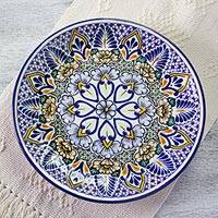 Talavera ceramic serving plate, 'Sunshine Kaleidoscope' - Mexican Floral Talavera 12 Inch Ceramic Serving Plate