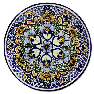 Ceramic dinner plates, 'Sunshine Kaleidoscope' (pair) - Mexican Blue Floral Talavera Style Dinner Plates (Pair)