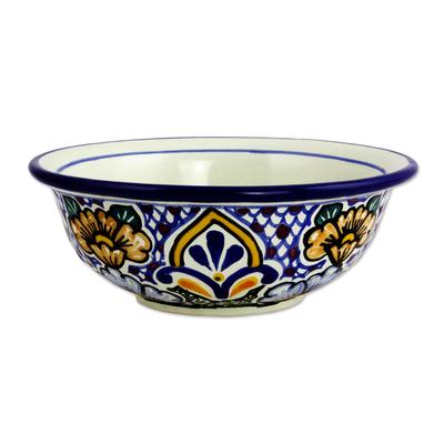 Ceramic soup bowls, 'Sunshine Kaleidoscope' (pair) - Mexican Talavera Style Floral Ceramic Soup Bowls (Pair)